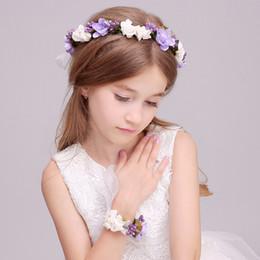 2019 materiais de grinalda por atacado Guirlandas infantis e pulseira de flores, argola floral para beleza noivas flores do casamento portador do anel headwear Princesa ornamento do cabelo agindo