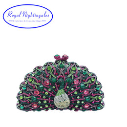 Wholesale Clutches For Prom - Wholesale- Peacock Clutch and Evening Clutch Bags for Ladies Wedding Prom Dinner Party Crystal Evening Bags