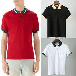 poche pour polo homme Promotion Rouge Noir Blanc Polo Shirt Homme 100% Coton Top Homme Col Rond Manches Courtes Coupe Homme
