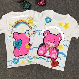Wholesale Women T Shirts Beads - 100% cotton fashion women beading cartoon printing T shirt casual short sleeve T shirt top tee