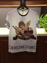 Wholesale heavy t shirts men - High end reproduction 2018 spring and summer new men's wear, heavy duty Angel embroidery, love letter design fashion trend T-shirt