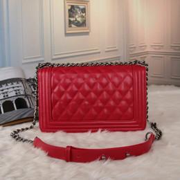 Wholesale White Envelopes Letter - HOT Fashion Women Leather Crossbody Designer Handbag Cover Plaid Chain Ladies Shoulder Bags Black Classic Messenger Bags free shipping