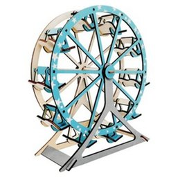 Wholesale Toy Wooden Wheel - Free shipping------ In 2017 year Children's creative ferris wheel - laser version wooden puzzle model puzzle toys