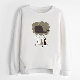 Wholesale Korean Sweatshirts For Women - Cute Korean Sweatshirts Harajuku Women Hoodies Clothing Plus Velvet Thicken Female Sweatshirt Warm White Hoodies For Teen Girls