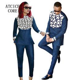 Vêtements africains de broderie en Ligne-Vêtements africains pour hommes et femmes africains bazin riche broderie conception Couple porter des vêtements LC088-1