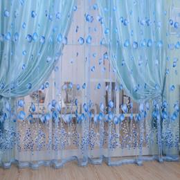 Sciarpa blu fiore online-New Fashion Pastoral Tulip Flower Sheer Window Curtain Beads Tassel Door Sciarpe tende Valance Decorazione della casa