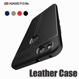 Wholesale Leather Protective Case For Huawei - Leather lines Phone Case Anit-fingerprint Shockproof Protective Soft TPU Silicone Rubber Cover For Huawei P10 9 Plus Lite Mate 10 Nova 2