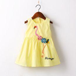 Wholesale Girls Crown Dress - INS Girl Princess Bow Dress red-crowned crane Embroider Print Style Summer Off Shoulder Sleeveless Tutu Dress Kids Elegant Dress NEW Arrival