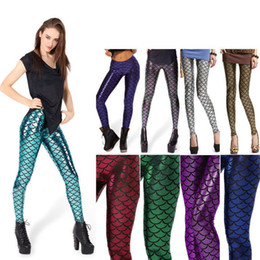 Wholesale Leggings For Women Sale - Hot sale 2017 autumn women clothing sexy mermaid print elastic bling scales slim leggings for women wholesale free shipping