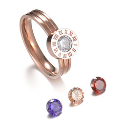 Gioielli intercambiabili pietre online-Love Screw Crystal Stone Numeri romani Ring Jewelry 4 Color Stone Interchangeable Ring Stainless Steel per donna