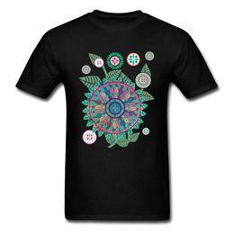 Mandala Garden T Shirt Hombres camiseta de verano camiseta masculina diseño camisetas camisetas cuello redondo camisetas algodón Rife ropa negro envío gratis desde fabricantes