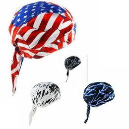 Wholesale headscarf styles - American Flag Print Bandana Headwrap Headscarf Adjustable Cap Hat Travel Cycling Head Scarf 4 Styles 100pcs OOA4456