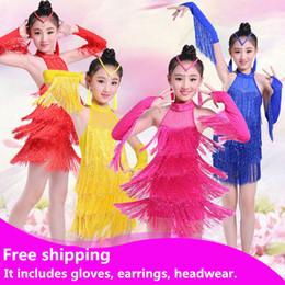 Nouveaux enfants enfants filles latine robe de danse sexy licou Sequin gland chacha tango costumes de bal pratique robe de danse rouge / Rose / jaune / bleu ? partir de fabricateur