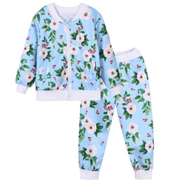 Wholesale Cool Clothes For Kids - beauty causal girl set European lady style floral tops pants set for 3-12years girls children kids cool outerwear clothing set