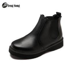 Зрелая кожа онлайн-Fengnong классический зрелый сапоги эластичные женские весна осень Пу кожаные ботинки женщин скольжения на сапоги девушка обувь WBT138