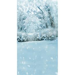 Foto szenischen hintergrund hintergrund online-Gefrorener Schnee bedeckte Bäume Forest Scenic Fotografie Backdrops Schneeflocken Kinder Winterurlaub Foto Studio Portrait Hintergründe