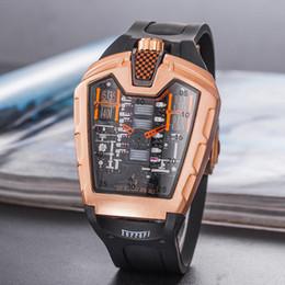 Correas de reloj de imitacion online-Reloj de cuarzo deportivo para hombre de lujo, a prueba de agua, con correa de silicona para hombres, imitación de relojes mecánicos (concha de oro)