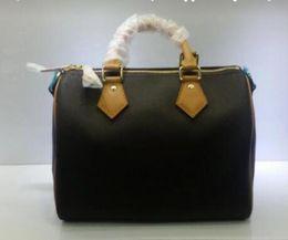 2018 Fashion 100% genuine leather shopping Bag speedy Handbag 25 30 35 with  lock and key tote Shoulder bag Classic Canvas Bag 349a1da0faf7a