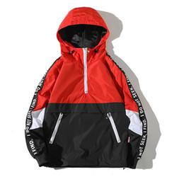 2018 New Patchwork Color Block Giacche e Cappotti con Cappuccio Manica Lunga con Appliques Tasche Frontali Pullover Jacket For Teens 4XL da