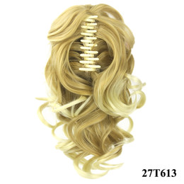 Wholesale Blonde Claw Hair Extensions - Ponytail claw clip hair extension Short Ponytails Curly Synthetic Hair Pony Tail Hairpiece Blonde Gray Claw Ponytail for black women