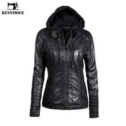Wholesale Leather Jacket Hoodie - Wholesale-KENNTRICE Hoodie Leather Jacket Women Black Leather Hooded Jacket Front Pocket Slim Fit Ladies' Jackets