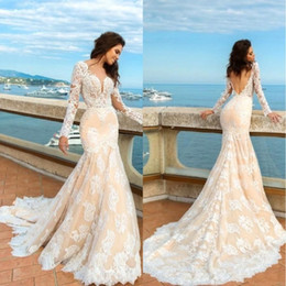 Wholesale Long Sleeve Fitted Lace Dresses - 2018 Champagne A Line Lace Wedding Dresses Long Sleeves Beach Boho Elegant Backless Fitted Sweetheart Bridal Gowns with Sweep Train BA4498