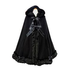 Wholesale Girls Skirt Coat - Warm Winter Long Hooded Cloak Classic Lolita Fur Coat for Women Sweet Girl Lolita Costume