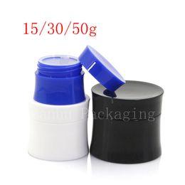 Wholesale blue cosmetic glass jars wholesale - 15g 30g 50 Empty Cosmetics Skin Care Cream Container ,Plastic Bottles , White Black Blue Cream Tin ,Unique Jar Can 40pc LOT