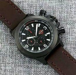 Wholesale Needle Clock - Swiss brand Harley luxury men watch 52mm six needle full function clock quartz watch high end design luxury leather military watches Relogio