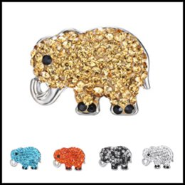 Wholesale Charms 7mm - Cute 23*18*7mm Elephant Button 18mm Ginger Chunks Noosa Buttons DIY Jewelry Rhinestone Alloy Beads for Necklace Bracelets