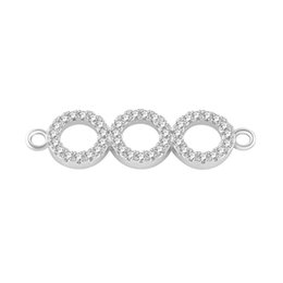 Argentina Venta al por mayor de bricolaje joyas hechas a mano componentes componentes Micro Pave Zircon 3 ronda conectar encantos de cristal círculo pulsera collar conector se adapta cheap necklace handmade circle Suministro