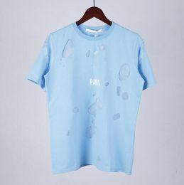 camiseta de la calle desgaste Rebajas 18ss Summer Street wear Europe Paris Fashion Men Alta calidad Sky Blue Big Broken Hole camiseta de algodón Casual Women Tee T-shirt
