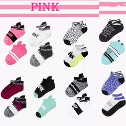 Wholesale Pink Cycling Shorts - Fast Dry Women's Love & Pink Socks Girl's Short Socks Outdoor Sports Basketball Cheerleader Socks Ankle Sock DHL Fedex Shipping