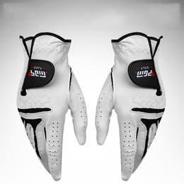 Luva de pele de carneiro homem on-line-Luvas de Golfe de Couro genuíno Para Os Homens Esquerda Luvas de Pele De Carneiro Mão Direita Fácil de Ajustar Esportes Acessório 28xs U U