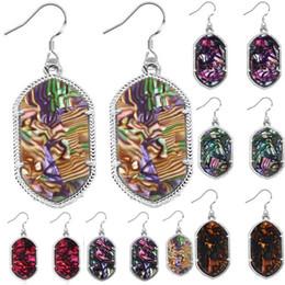 Wholesale Earrings Colorful Stones - Christmas Gift Kendra Style Silver Tone Acrylic Stone Geometric Multi colorful Earrings Resin Druzy Dangle Earrings for Women