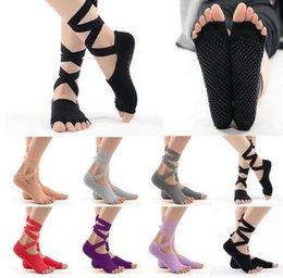 Wholesale Black Pilates - Toeless Ballet Style Yoga Pilates Barre Grip Socks With Non Slip Grip Bottoms Dancer Toe Socks Black