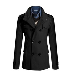 Jaqueta j on-line-Médio Longo Trench Coat Homens Casaco de Inverno Jaqueta Homens Blusão Sólido Preto Trench Coat Estilo Inglês Traje J-M2
