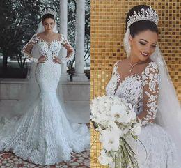 2019 sereia vestido de casamento marfim rápido Dubai Luxo Sereia Vestidos de Casamento com Ilusão Mangas Compridas Lace Apliques Sheer Neck Princess Lindo Designer Exclusivo Vestidos de Noiva