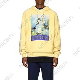 sudaderas gráfico Rebajas 2018 marca de lujo ropa para hombre sudaderas con capucha diseñador Heron Preston impresión gráfica bordado de diamantes carta suéter con capucha sudadera polar