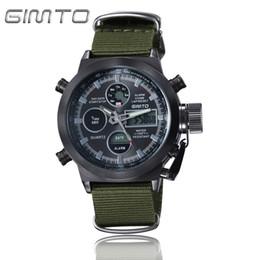 Wholesale Mens Nylon Watch Bands - GIMTO Sport Digital Watch Men Waterproof Dual Display Mens Watches Top Brand Luxury Nylon Band Male Clock Men Relogio Masculino