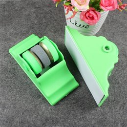 Wholesale Knife Sharpener Free Shipping - Knife Slicker Pedestal Practical Type Kitchen Gadget Circular Fast Green New Knives Stone Sharpeners Free Shipping 1 1dz V