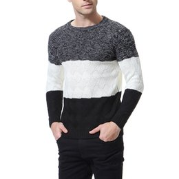adrette stil kleidung männer Rabatt Männer Kleidung Gestreifte Beiläufige Gestrickte Pullover Mens Herbst Winter Dicke Tops Männlich High Neck Langarm Pullover Asiatische Größe