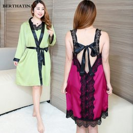 9b17e9c43b29 2019 plus nachtwäsche robe sets BERTHATINA Hohe Qualität Sexy Kleidung Silk  Kleider Lace Robe Nightgown Robe