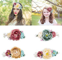 Wholesale Headband Garland - Bride bohemian flowers headband festival wedding floral garland hair band headwear baby hair accessories women beach hair band