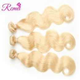 2019 tessuto indiano dei capelli umani Rcmei Indian Remy Capelli Body Wave 3 Bundles 613 Biondo Unprocesse Capelli umani Weave Bundles Estensioni Dei Capelli 10-28 pollici tessuto indiano dei capelli umani economici