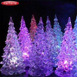 Wholesale Ice Desk - 125x58mm Colorful Ice Crystal Tree Changing LED Desk Decor For Happy New Year gift