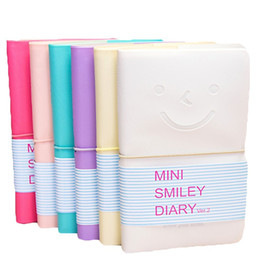 Wholesale Wholesale Diary For Girls - Notebooks Writing Pads Smart Lovely Cute Charming Portable Mini Smile Smiley Paper Diary Note Book for Girls Students Random Color