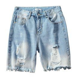 2019 más el tamaño de pantalones cortos de jean azul MORUANCLE Moda Hombre Pantalones cortos rasgados Pantalones cortos de mezclilla desgastados para hombre Tallas grandes M-5XL Pantalones cortos desgastados azul con agujeros más el tamaño de pantalones cortos de jean azul baratos