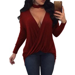 Wholesale Low Cut V Neck Shirts - 2017 Autumn Womne Sexy Deep V Neck Long Sleeve Chocker Low Cut Irregular Hem Solid Blouse Ladies Club Evening Shirt Top Blusas