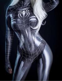2019 destino ficar noite jogo Black Symbiote Spider Girl 3D Impressão Spandex Mulher Aranha Traje Cosplay Zentai Bodysuit Venda Quente Freeshipping